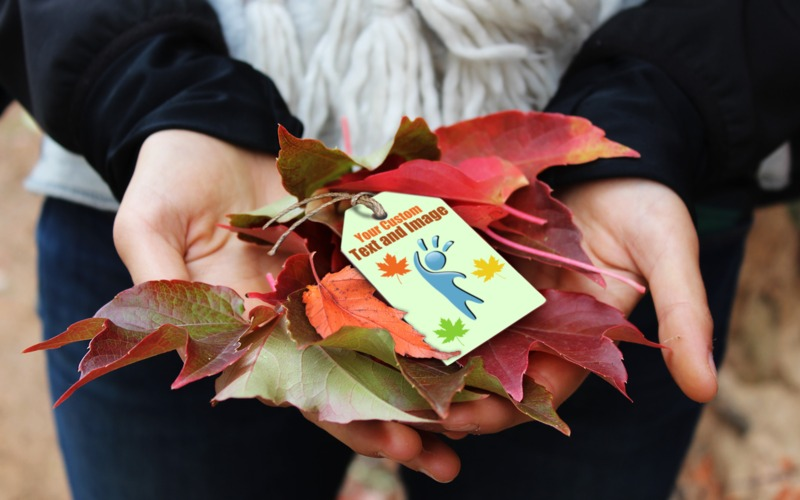 A custom text image containing a burlap string tag on top of some autumn leaves.