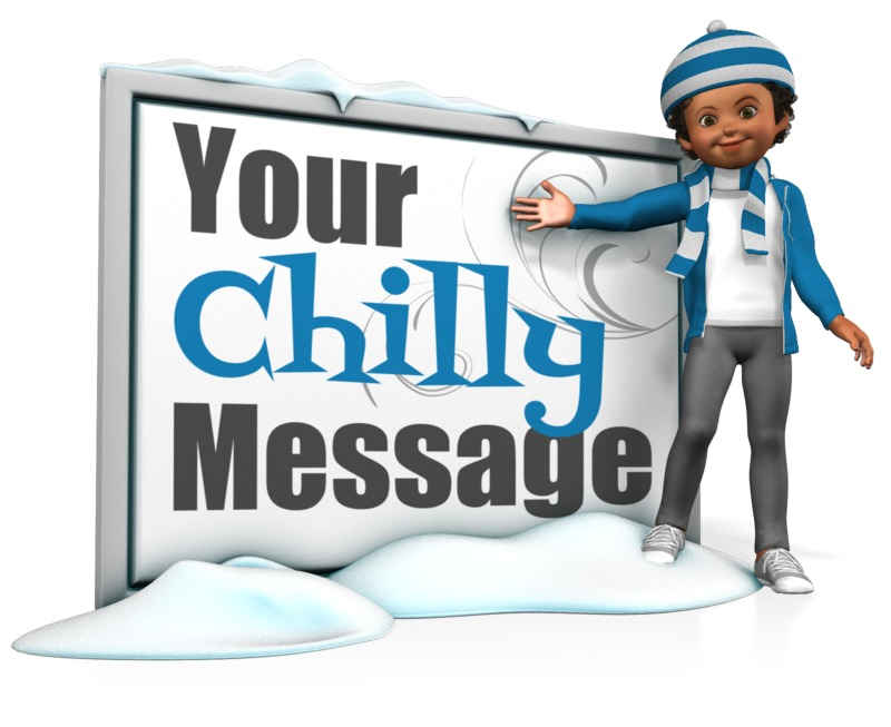 This Presentation Clipart shows a preview of Girl In Scarf Next To Message Board
