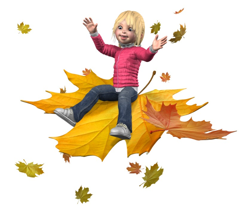 Clipart - Sally Ride The Leaves