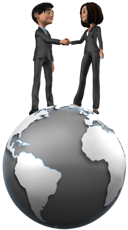 Clipart - Tailia Brad Shake Hands On Top World
