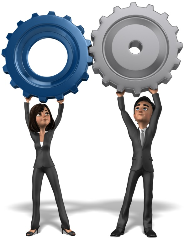 Clipart - Business Team Holding Gears Together