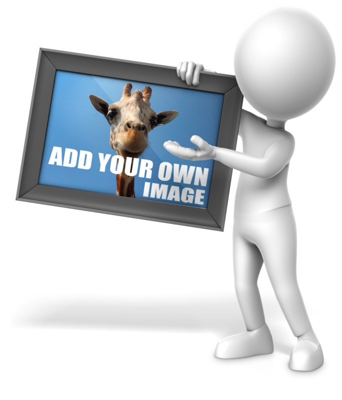 This Presentation Clipart shows a preview of Figure Holding Picture
