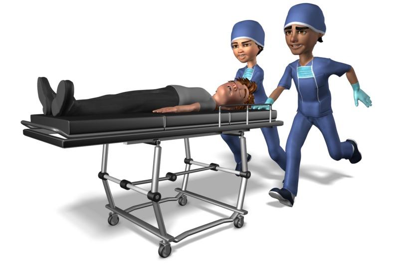 Clipart - Medical Team Pushing Gurney