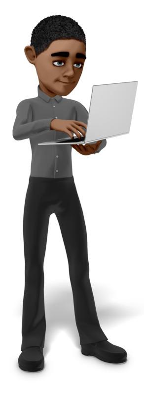 Clipart - Tech Man Working Laptop