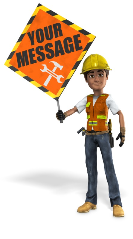 This Presentation Clipart shows a preview of Construction Worker Holding Sign