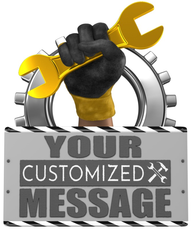 This Presentation Clipart shows a preview of Hand Holding Wrench With Sign
