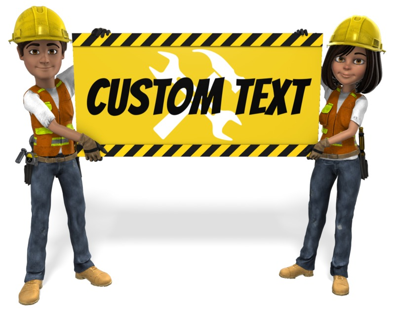 A man and woman construction work hold up a hazard sign with your custom deign.