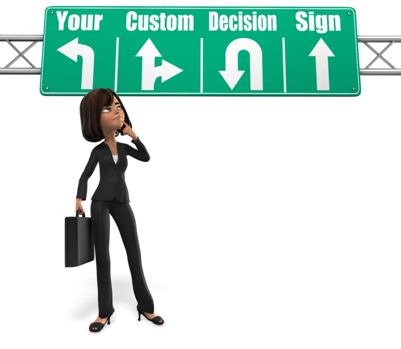 This Presentation Clipart shows a preview of Woman Sign Decision