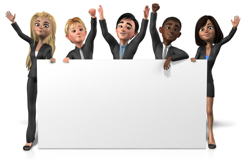 Clipart - Business People Long Sign