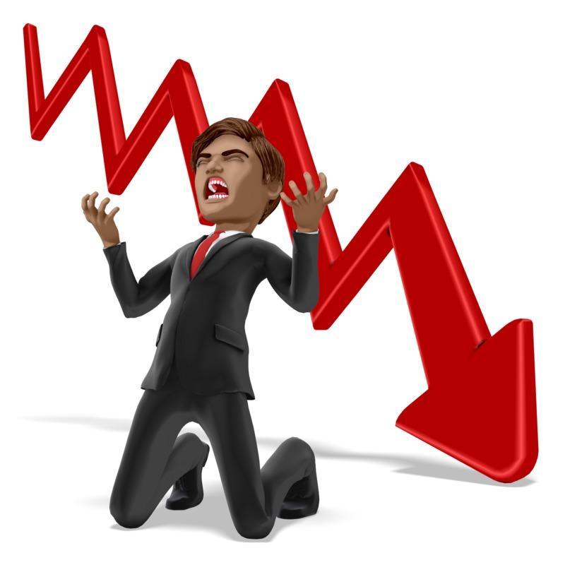 Clipart - Businessman Despair Graph