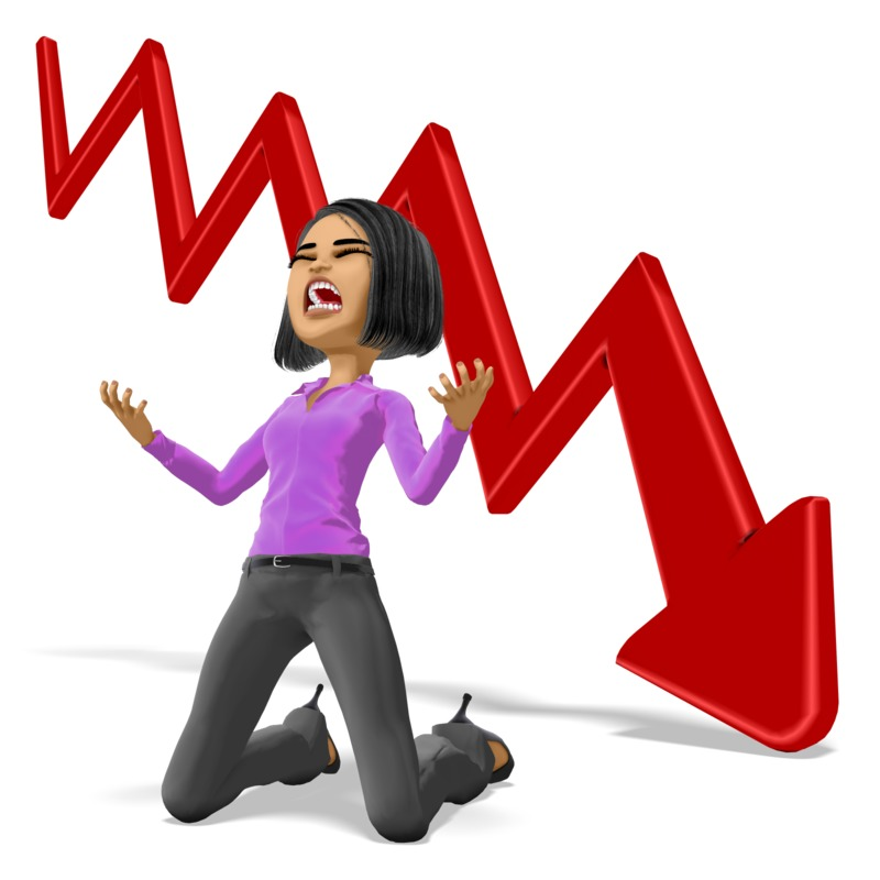 Clipart - Business Woman Despair Graph