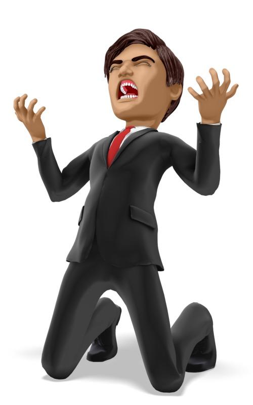 Clipart - Businessman On Knees In Despair