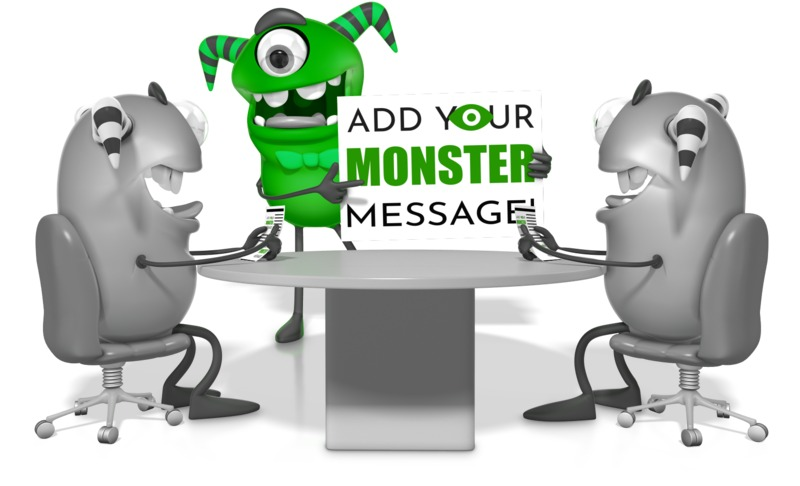 This custom design clipart shows a monster character presenting a message to two others.<br><br>  You can customize the sign by adding your own text and images using our online customizer.