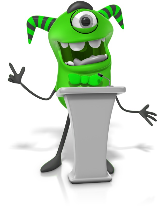 Clipart - Monster Behind Podium
