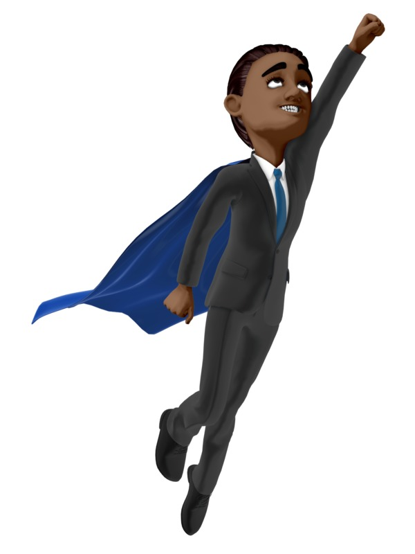 Clipart - Businessman Hero Flying Up