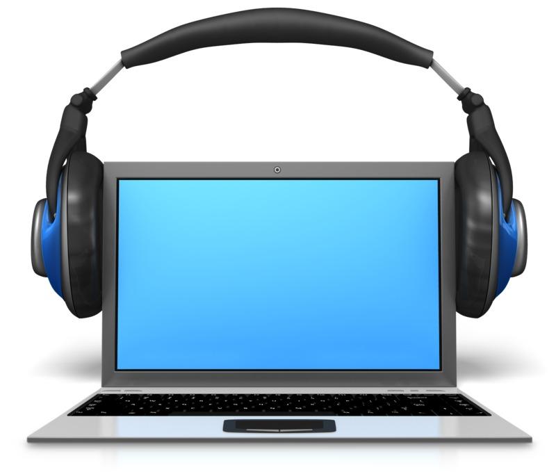 Clipart - Headphones On Laptop