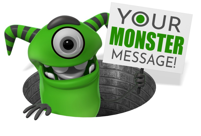 This Presentation Clipart shows a preview of Monster Pop Out Of Hole Sign