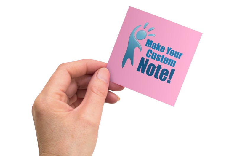 An image of a hand holding a custom sticky note. Create your own message in this graphic.