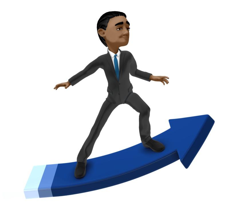 Clipart - Businessman Surfing Arrow