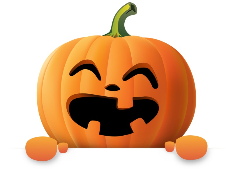 Clipart - Happy Pumpkin Holding Blank Sign