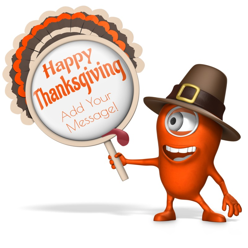 This Presentation Clipart shows a preview of Monster Minion Holding Turkey Sign