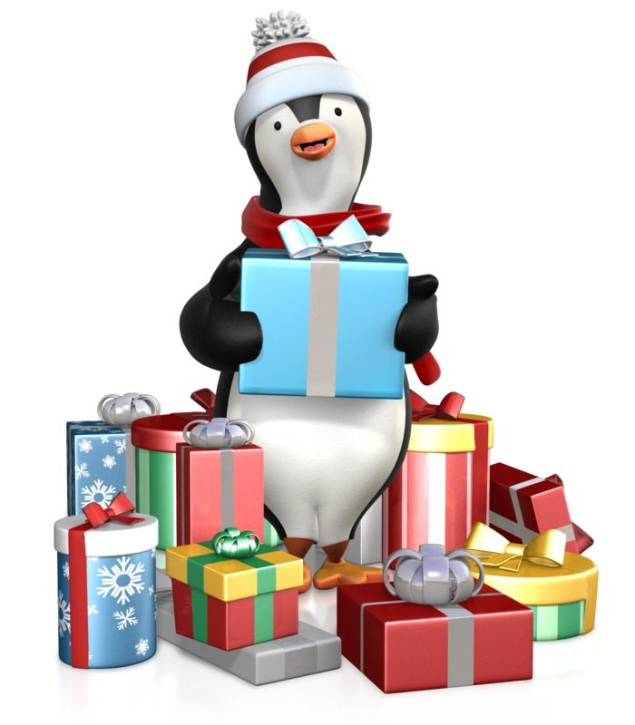 Clipart - Penguin In A Pile Of Gifts
