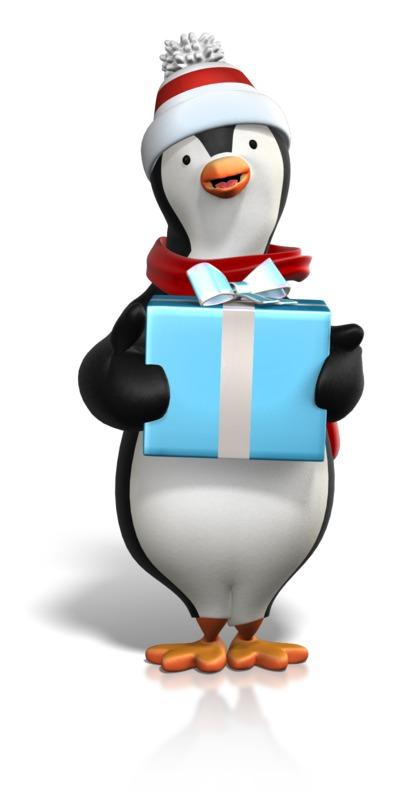 Clipart - Winter Penguin Holding Gift
