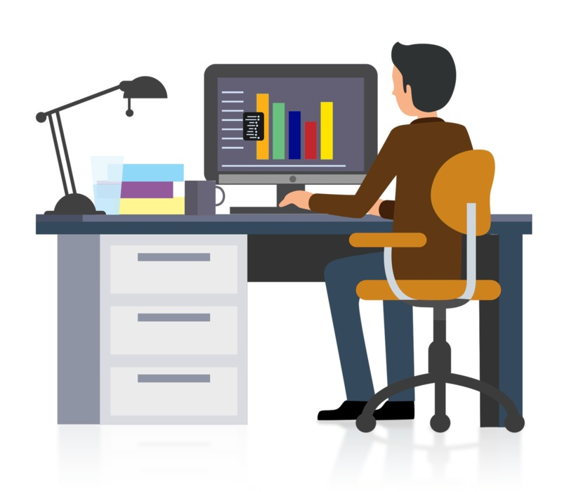 Clipart - Office Businessman Working