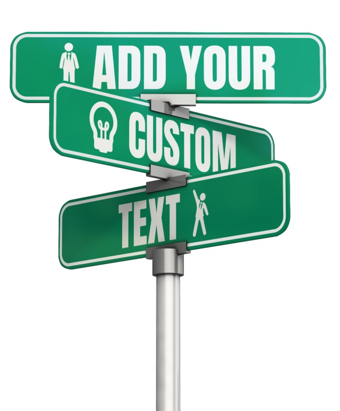 This Presentation Clipart shows a preview of Three Way Custom Street Sign