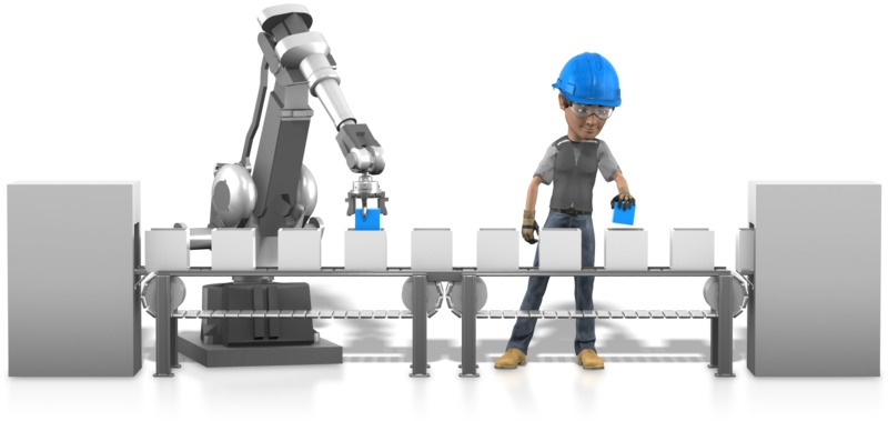 Clipart - Human Robot Working Together
