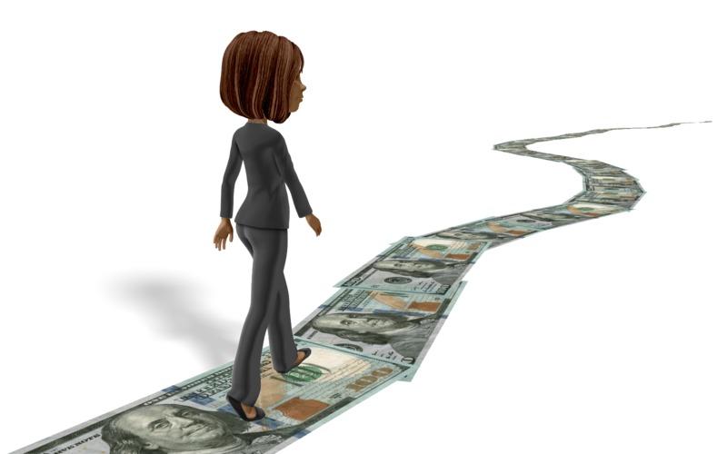 Clipart - Business Woman Walking Money Trail