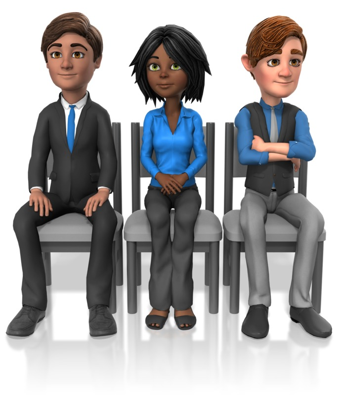 Clipart - Business People Sit Look