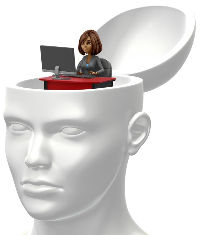 Clipart - Business Woman Inside Head
