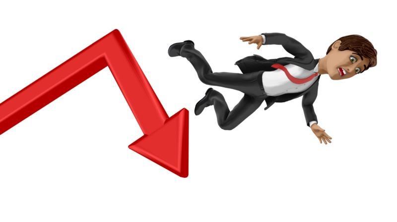 Clipart - Businessman Fall Graph