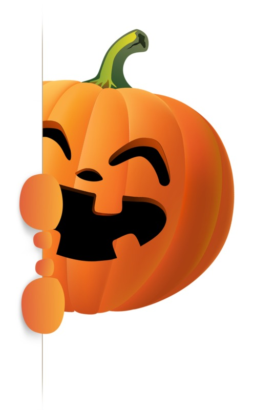 Clipart - Happy Pumpkin Holding Side Sign