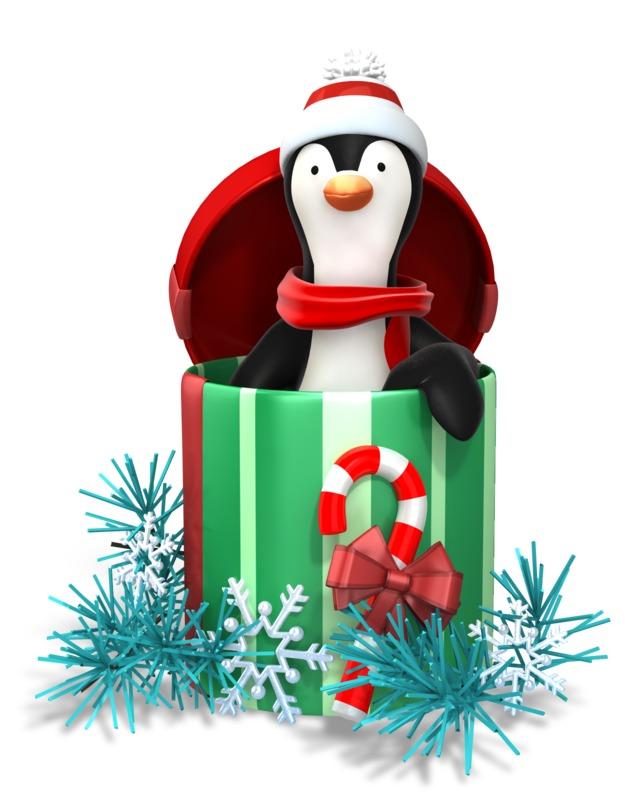 Clipart - Christmas Penguin Present