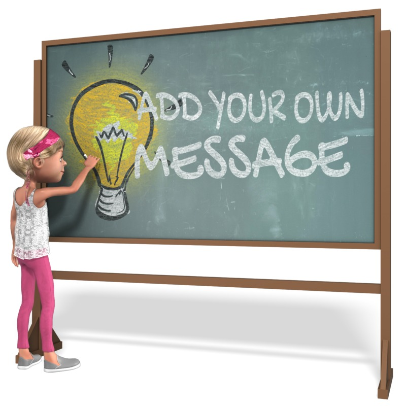 This Presentation Clipart shows a preview of Girl Student Chalkboard Custom