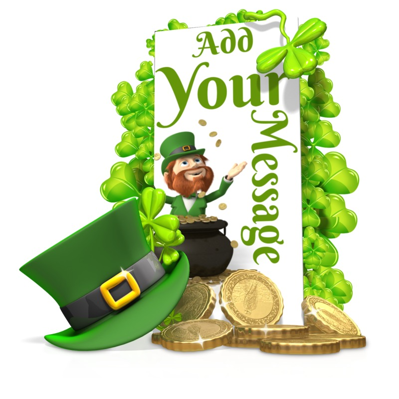 This Presentation Clipart shows a preview of St Patricks Shamrock Hat Sign Custom
