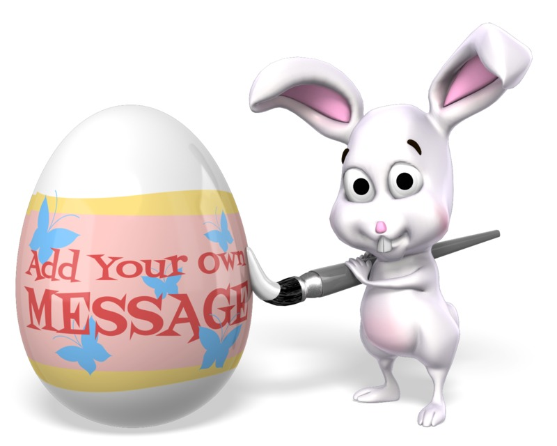This Presentation Clipart shows a preview of Easter Bunny Painting Egg Custom