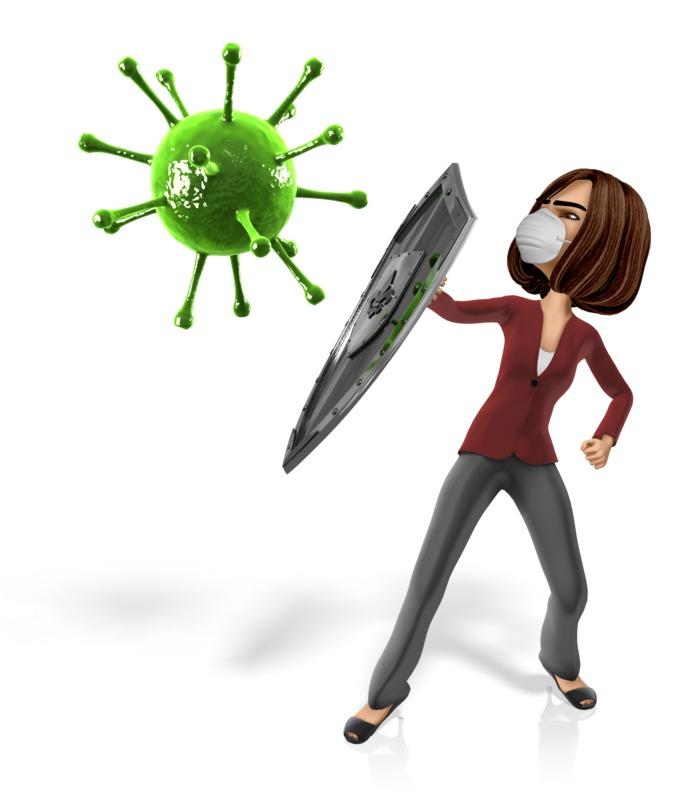 Clipart - Woman Shield Virus