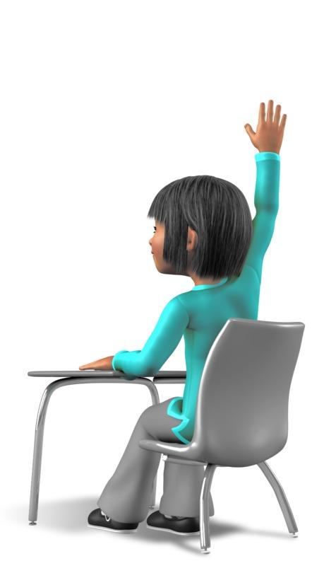 Clipart - Girl At Desk Profile