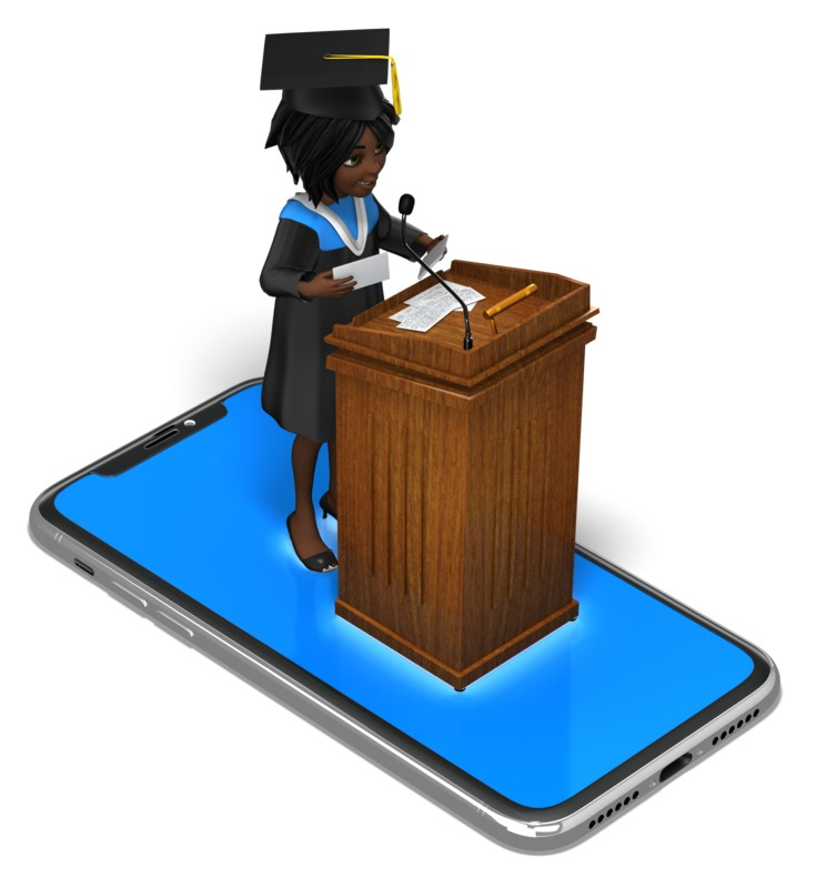 Clipart - Female Graduation Smartphone