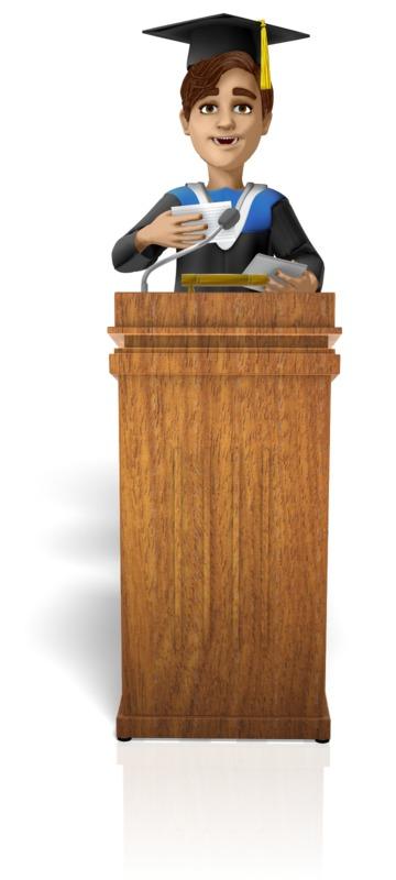 Clipart - Male Graduation Podium