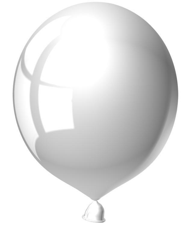 Clipart - Single White Balloon