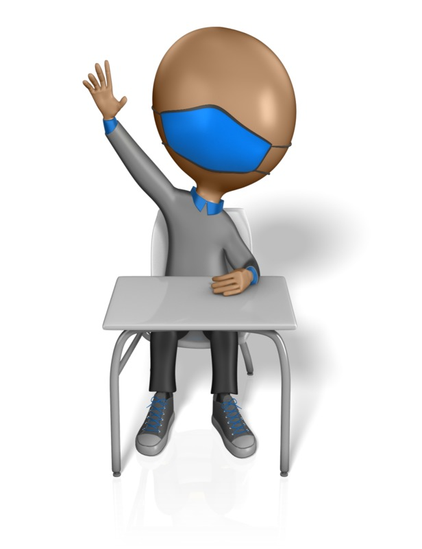 Clipart - Student Wearing Mask Raising Hand - ClipArt