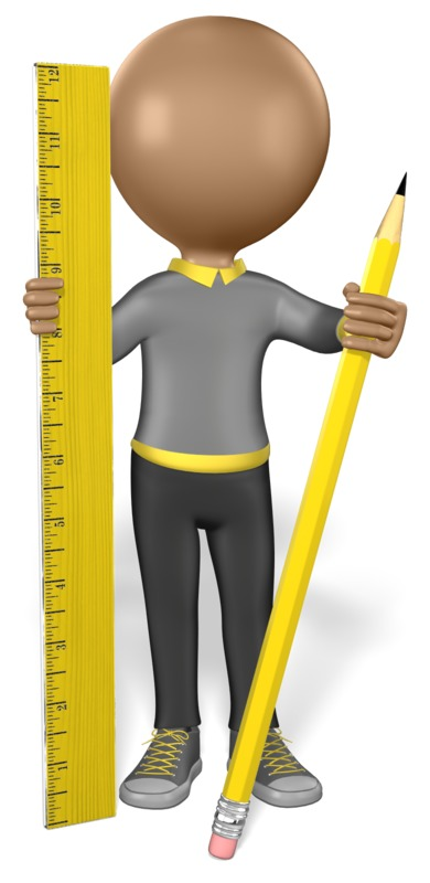 Clipart - Stick Figure Pencil Ruler