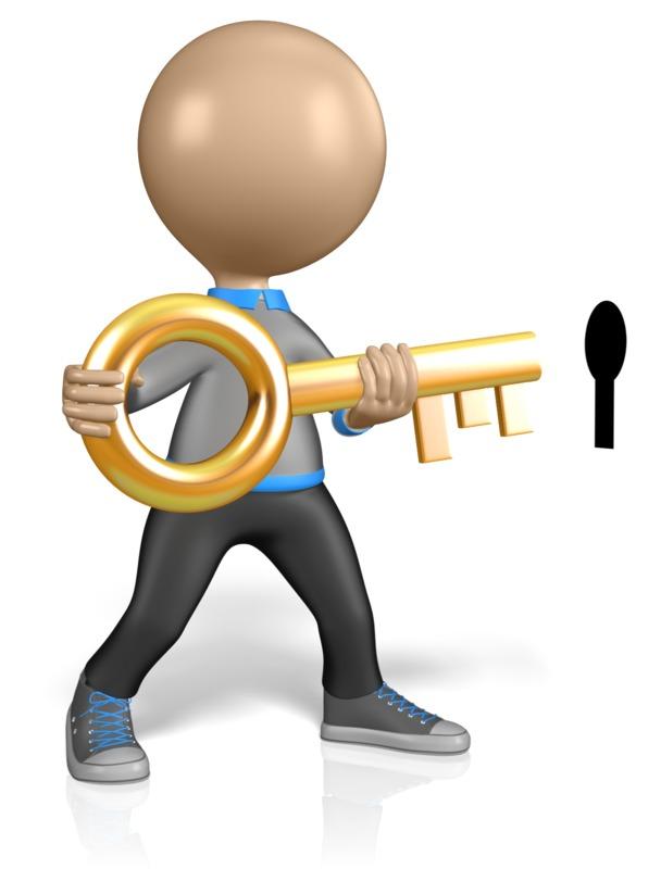 Clipart - Guy Figure Key Lock