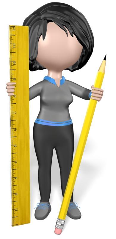 Clipart - Stick Girl Pencil Ruler