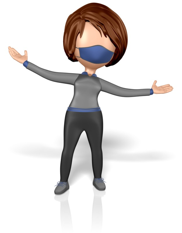 Clipart - Stickwoman Mask Welcome Arms