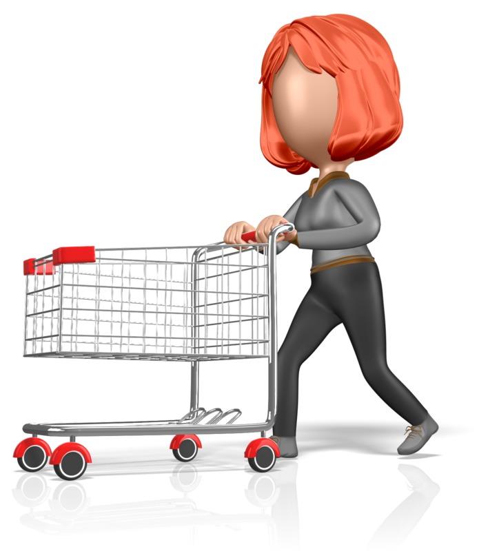 Clipart - Stickwoman Push Shopping Cart